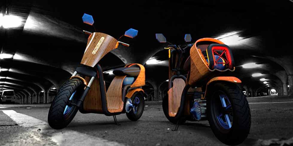 Scooter de bambu que anda com ar comprimido