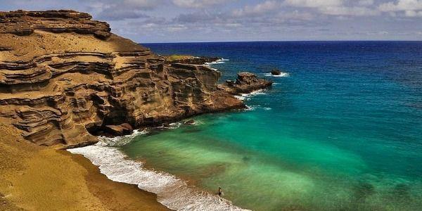 Papakolea beach, praia do Havai