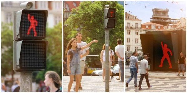semáforo dançante em Lisboa