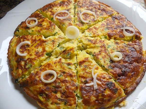 Omelete de alho-poró