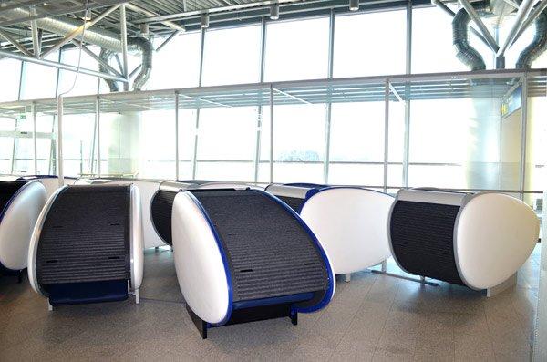 Conchas GoSleep no aeroporto
