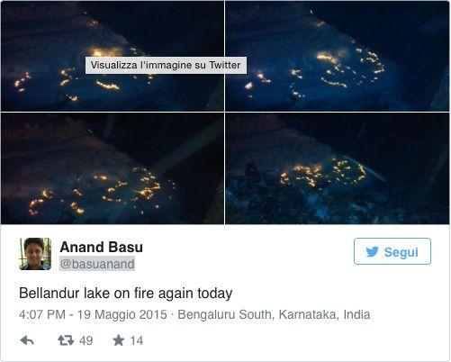 tweeter lago na Índia pega fogo