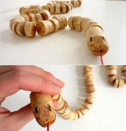 cobras ou centopeias de rolhas