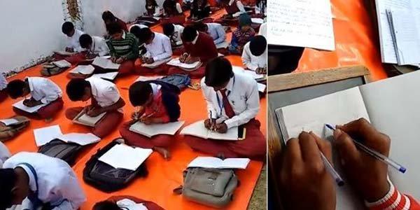 Índia alunos ambidestros