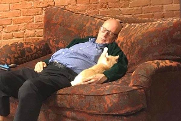 vovô voluntário gatos