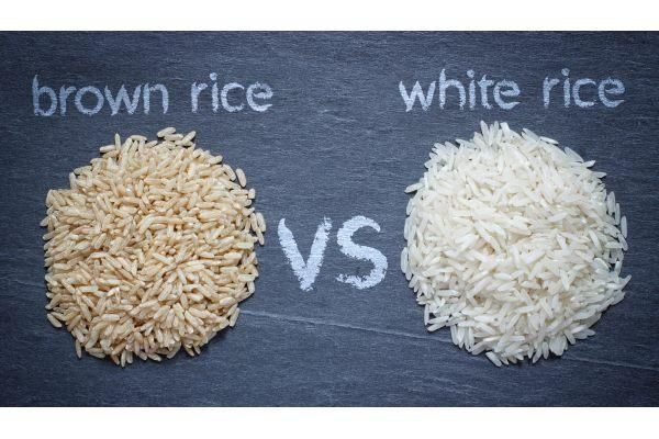 arroz integral e branco