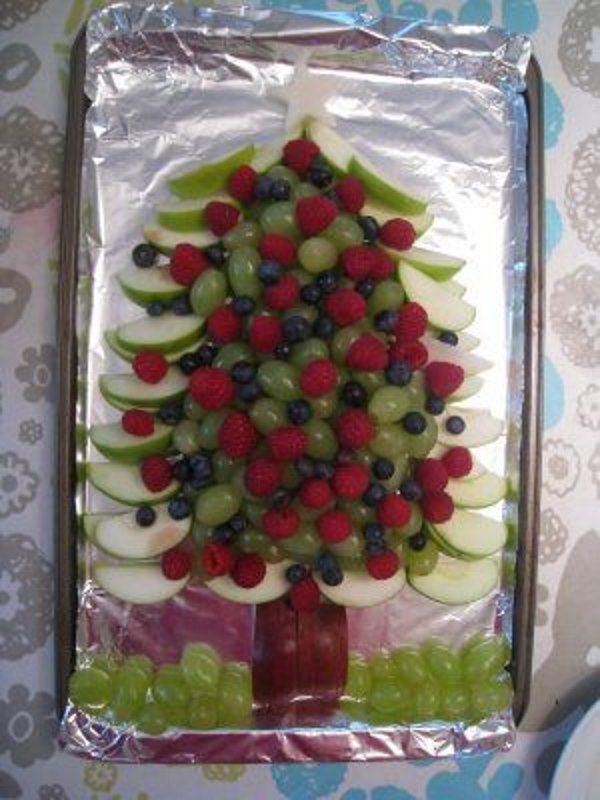 árvores natal salada frutas