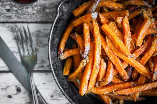 palitos de batata doce no forno