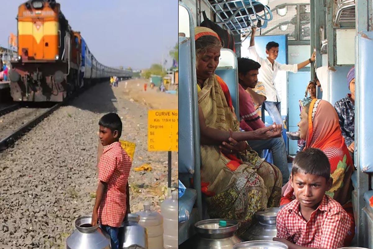 crianças em busca de água